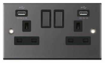 Slimline Black Nickel USB Socket  - Double