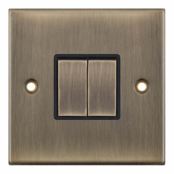 Slimline Antique Brass Light Switch -  - 2 Gang 2 Way Double