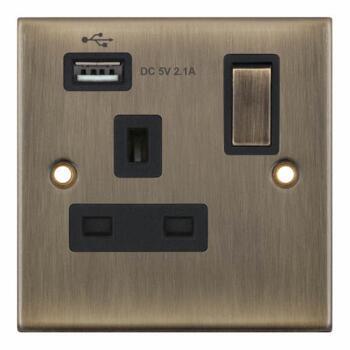 Slimline Antique Brass USB Socket  - Single With 1 USB