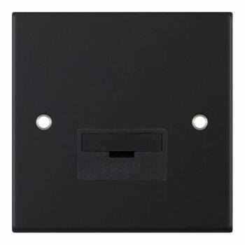 Slimline Matt Black 13A Fused Spur  - Unswitched