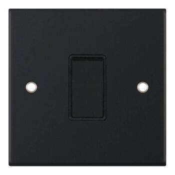 Slimline Matt Black Light Switch - 1 Gang 2 Way Single