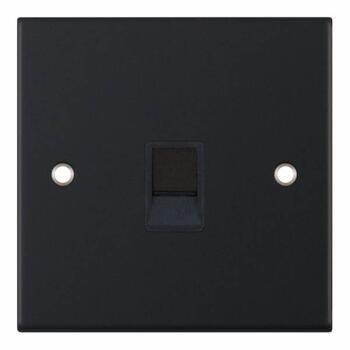 Slimline Matt Black Single Data Outlet Sockets - 1 Gang RJ45 (Computer/Data)
