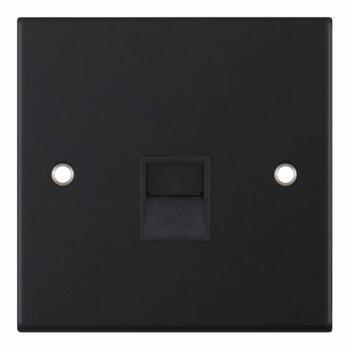 Slimline Matt Black Single Telephone Sockets - 1 Gang Secondary Telephone Socket