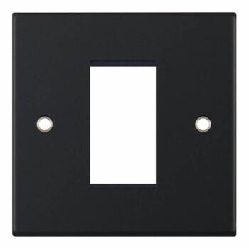 Slimline Matt Black Euro Media Data Module Plate  - One Module Aperture