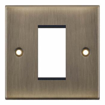 Slimline Antique Brass Euro Media Data Plate - One Module Aperture