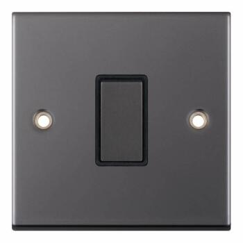 Slimline Black Nickel Light Switch  - 1 Gang 2 Way Single