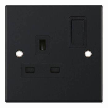 Slimline Matt Black Single Socket - 1 Gang