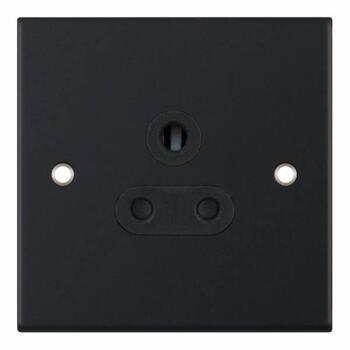 Slimline Matt Black Single Round Pin Socket - 5A