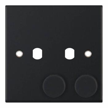 Slimline Matt Black Empty LED Dimmer - 2 Gang