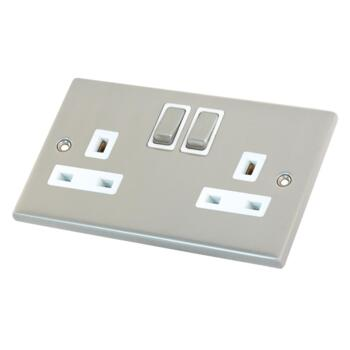 Satin Chrome Double Socket - 1 Piece