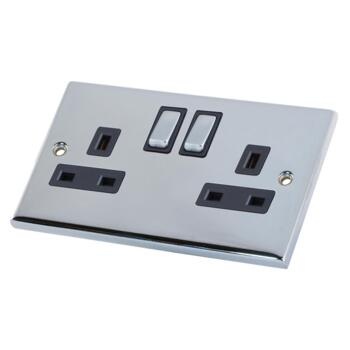 Polished Chrome Double Socket SP - 1 Piece