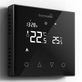 WIFI Programmable Touchscreen Thermostat  - Black Glass