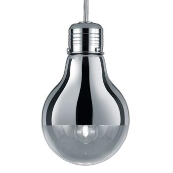 280mm Chrome & Glass Light Bulb Style Pendant - Fitting