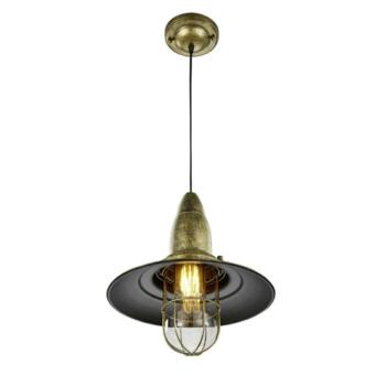320mm Antique Brass Vintage Fisherman Pendant Light - Fitting