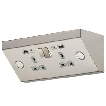 Worktop Kitchen Double Socket With USB Chargers - Stainless Steel