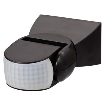 Black 180 Degree Adjustable PIR Motion Sensor - Black