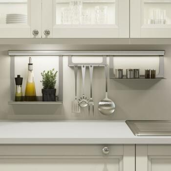 Sensio Midway LED Illuminated Hanging Rail System - Silver - 1m Profile With LED Lighting & Driver