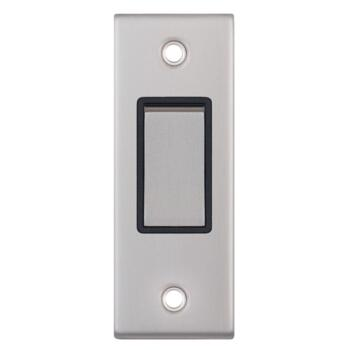 Brushed Chrome Architrave Light Switch - With Black Interior