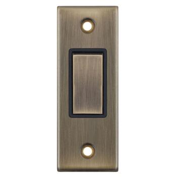 Antique Brass Architrave Light Switch  - With Black Interior