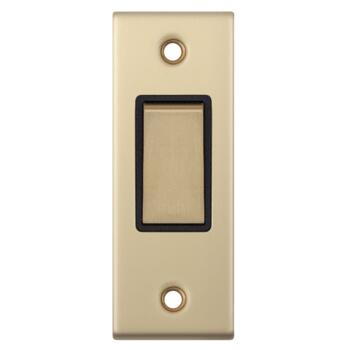 Satin Brushed Brass Architrave Light Switch - With Black Interior
