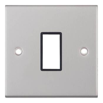 Satin Chrome Build Your Own Light Switch - 1 Gang Single Empty plate