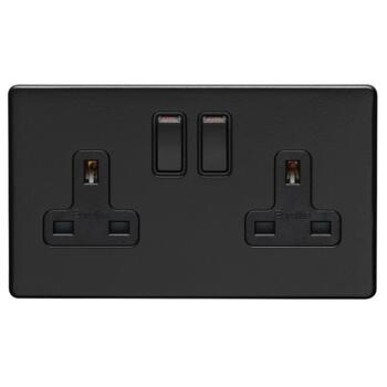 Screwless Matt Black Double Switched Socket - Metal - out of stock until 18/2 - 1 Piece - out of stock until 18/2