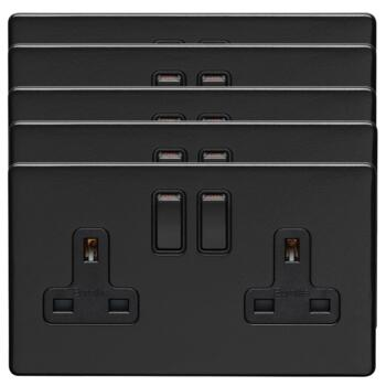 Screwless Matt Black Double Switched Socket - Metal - Pack of 5 @ £11.22 each