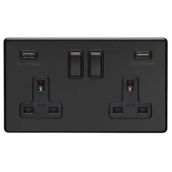 Screwless Matt Black USB Charger Socket - Metal - Double 2 Gang