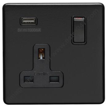 Screwless Matt Black USB Charger Socket - Metal - Single 1 Gang