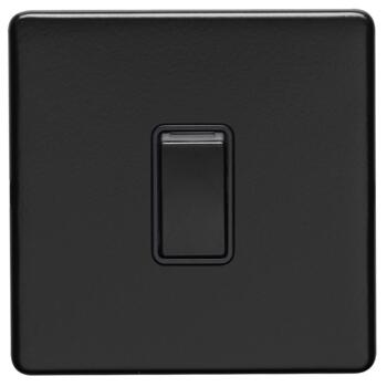 Screwless Matt Black Light Switch - Metal - Single 1 Gang