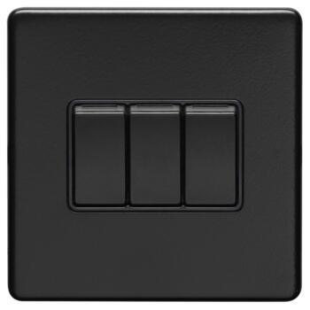 Screwless Matt Black Light Switch - Metal - Triple 3 Gang