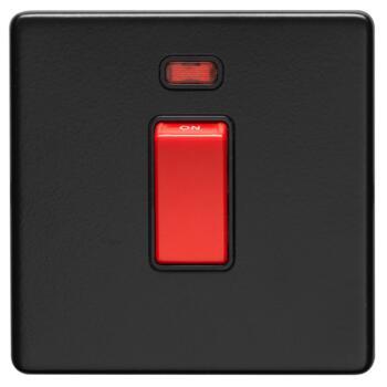 Screwless Matt Black 45A Cooker / Shower Switch - 1 Gang With Neon