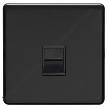 Screwless Matt Black Phone Socket - Metal - Slave or Secondary