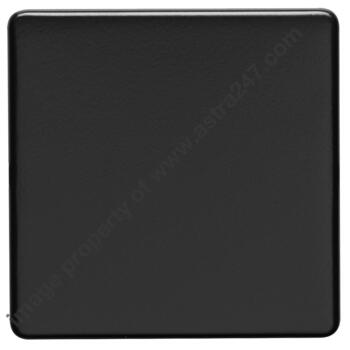 Screwless Matt Black Blank Plates - Metal - 1 Gang Single Plate