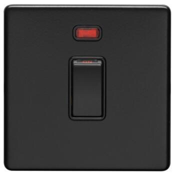 Screwless Matt Black 20A DP Isolator Switch - 1 Gang With Neon