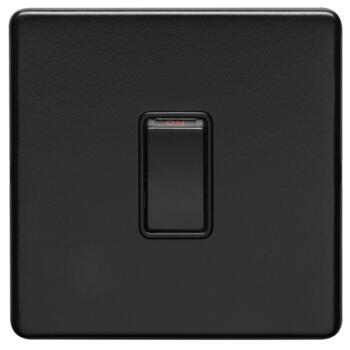 Screwless Matt Black 20A DP Isolator Switch - 1 Gang Without Neon