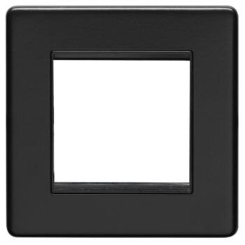 Screwless Matt Black Data Module Plate - Metal - 2 Module Single Plate