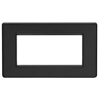 Screwless Matt Black Data Module Plate - Metal - 4 Module Double Plate