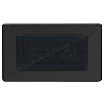 Screwless Matt Black Brush Strip Plate - Metal - 4 Module Double Plate