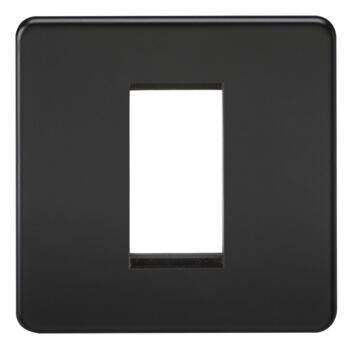 Screwless Matt Black Euro Data Media Plate Socket - 1 Module Single Plate