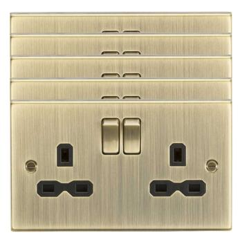 Antique Brass Double Socket - Pack of 5 @ £8.48 each
