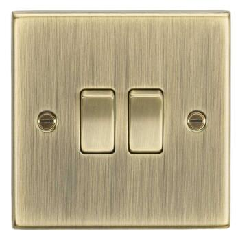 Antique Brass Light Switch - 2 Gang 2 Way Double