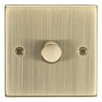 Antique Brass Dimmer Light Switch - 1 Gang 2 Way 10-200w Single