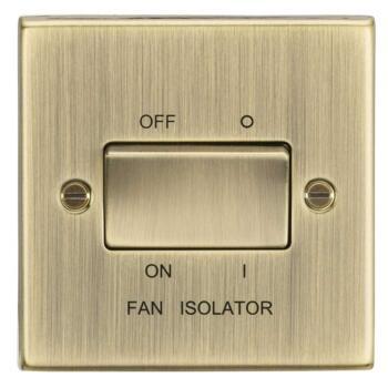 Antique Brass Fan Isolator Switch - Single 1 Gang