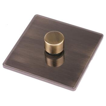 Screwless Antique Brass LED Dimmer Switch - Single 1 Gang 2 Way