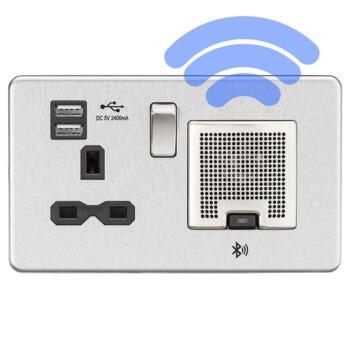 Screwless Brushed Chrome Bluetooth Speaker Socket - Black Interior