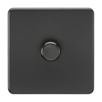 Screwless Matt Black Dimmer Light Switch - Single 1 Gang 2 Way 10-200W(LED 5W-150W)