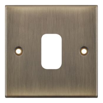 Slimline Antique Brass Modular Grid Switch - 1 Gang Empty Plate