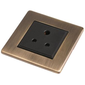 Screwless Antique Brass 5a Round Pin Socket - 5A