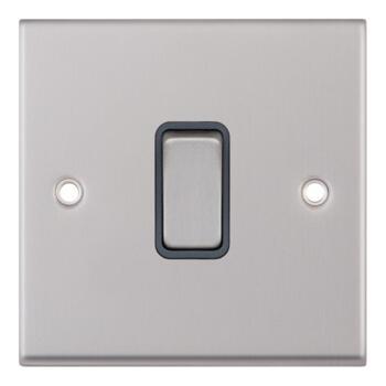 Satin Chrome & Grey Light Switch - 1 Gang 2 Way Single